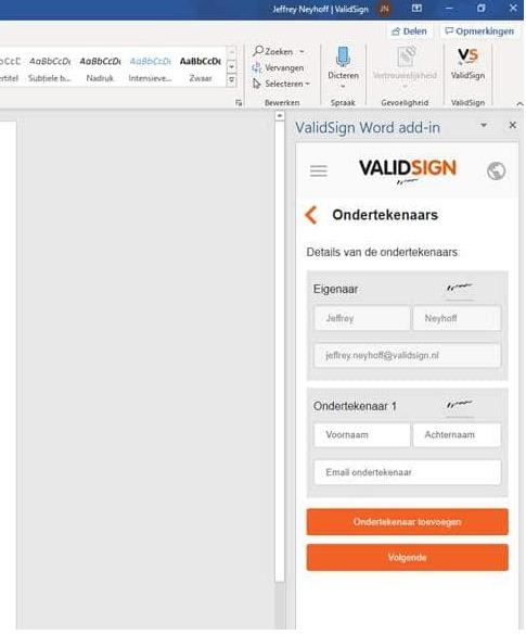 de Office connector van ValidSign